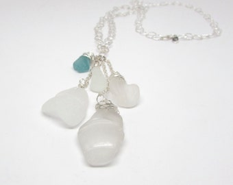 Sea Glass Waterfall Necklace in Touch of Teal
