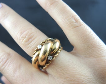 ring twist in rose gold and diamonds - 50 years / / / Pink gold ring and diamonds - Circa 50ies
