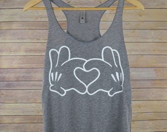Mickey Heart Tank Top: Women's Disney Mickey Mouse Hands Heart Racerback Shirt- 9 Colors Available