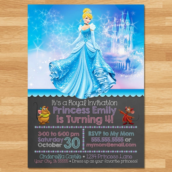 Cinderella Invitation - Chalkboard - Cinderella Invite - Disney Princess Invite - Princess Printables - Cinderella Birthday Party Favors