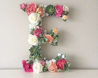 "Wood Floral Letter 19"" 24"", Custom Flower Letter, Wedding Letter, Nursery Letter, Baby Letter, Nursery Art, Baby Shower Gift, Shower Decor"