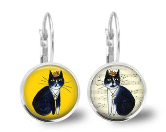 Tuxedo Cat Earrings, Cat Earrings, Tuxedo Cat Jewelry, Tuxedo Cat Studs, Cat Drop Earrings, Cat Lever Backs, Cat Lover Gift, Cat Mum Gift