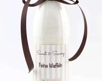 Fine waffles baking mix in the bottle, waffles, ideal as a gift for birthday, Christmas, Easter for him and her