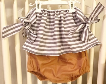 Arm bow crop top in gray & white stripes and bloomers with the color of your choice - 2 pcs