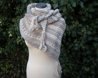 Triangle shawl hand knit scarf triangle towel natural