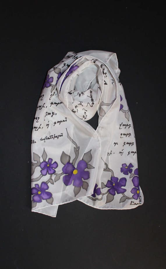 SHIPPING from US,ASAP,Hand painted silk scarf,Long white chiffon scarf,Armenian poetry,Gift for her,For mother,Batik,Etsy,Forget me not