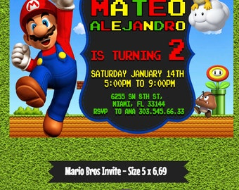 Mario Bros Invitation, Custom Invitation, Mario Bros Party, Mario Bros Birthday, Digital Invitation, Mario Bros Printable