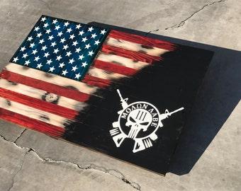 Molon Labe colored American Flag Flags 2'x3' rustic flag