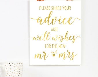 Gold Advice and Wishes Sign | Printable Instant Download | Wedding Ceremony Reception Sign | Gold Foil Calligraphy | Suite | WS1