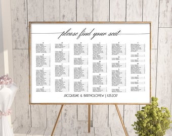 Wedding alphabetical seating chart template, printable seating chart, editable seating plan, find your seat sign, seating arrangement,