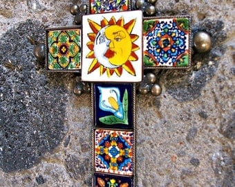 "Sale Mexican cross Sun Moon metal cross wall decor vintage look hand made of ceramic tile and metal 9"" x 6.25"" tile design"