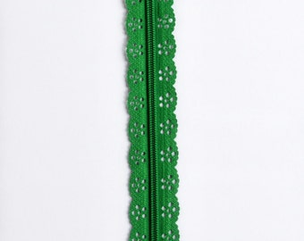 """Dark Green Lace Zipper - Green Zipper - 8"""" Zippers - Lace Zippers - Bag Zippers - Purse Zippers - Sewing Zippers - Christmas Sewing - Zipper"""