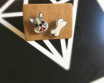 Kawaii Boston Terrier Earrings, Cute Dog Studs, Dog and Bone Earrings, Handmade Mismatched Stud Earrings, Gift for Her