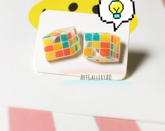 Kawaii Rubiks Cube Earrings, Cute Puzzle Studs, Rubiks Stud Earrings, Unique Handmade Earrings, Gift for Her