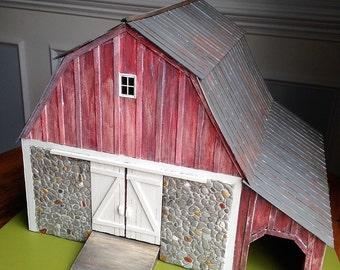 Miniature Dutch Gambrel Barn, 0 scale & 1/4 scale-CIRCA 1890 Hudson Valley/O scale model railroad/miniature collectible/tabletop display