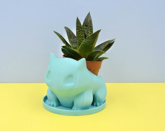 Bulbasaur planter / Turquoise planter/ Small Succulent Planter / 3D printed bulbasaur / saucer and drainage / Mini planter/cactus planter