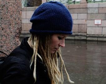 Simple Hat // Chunky Knit Slouch Hat // Unisex Slouchy Beanie // Bulky Hat // Wool Slouch // Dreadlock Beanie
