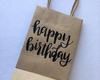 Personalized Gift Bag   Custom Gift Bag   Gift Bag   Kraft   Gift Wrapping   Happy Birthday   Birthday Bag   Hand Lettered