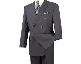 Classic-fit double breasted men's suit 2 piece heather gray suit solid color new with tag