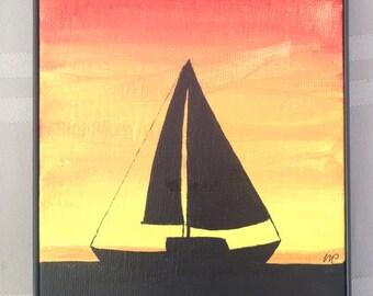Sailboat at Cape May, NJ 5x7