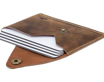Super Slim Business Card Holder - A-SLIM - Raw Tan - Oiled Leather - Tsuki - Cardholder - Card Case - Minimalist Wallet - Button Wallet