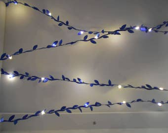 Blue Garland String Lights / Fairy Lights - Navy Wedding Decorations - Leaves Battery Operated Indoor Bedroom Decor Leaf Vine