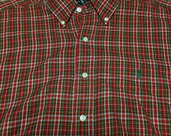 Vintage Ralph Lauren Red Green Yellow White Plaid Cotton Button Down Shirt size Large