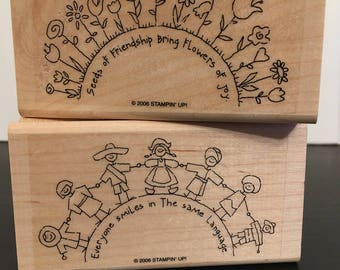 Stampin Up! stamp set, The World Over, 2006 RETIRED- Partial Set, Stamps look unused, Friendship, Unity