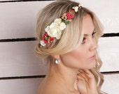 Bridal head wreath Floral Crown wedding flower crown white Hair Piece Boho bohemian floral headpiece red Flower headband bridal hair flower