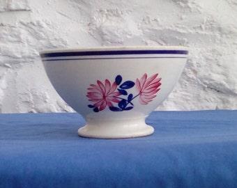 Vintage French hand painted café au lait bowl, 'Nina-Rosa' by Gien.