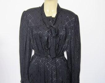 Black dress Pierre CARDIN vintage col Lavaliere 1970 1980 silk