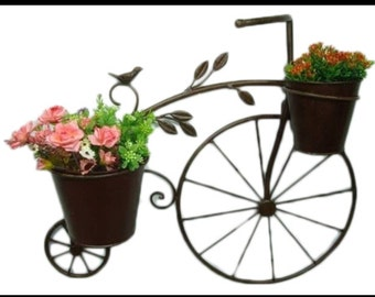 Metal hanging tricycle planter with 2 pots (plants not included)