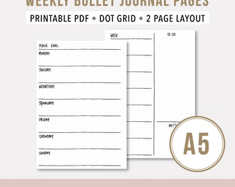 Weekly Agenda 2017 • A5 Printable Planner Horizontal • Bullet Journal Template A5 Dot Grid Journal • Weekly Undated Printable Planner • Wo2P