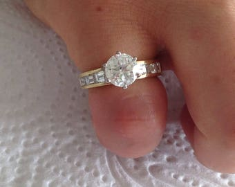 Certified 2.80 CT Round cut & Baguette cut Diamond engagement Ring 18k yellow gold  hand made