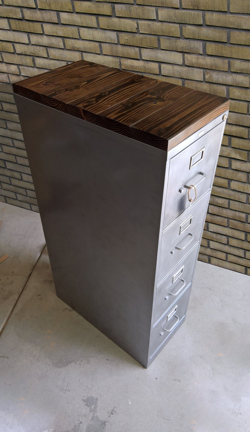 Refinished 4 Drawer Metal Filing Cabinet W Or W O Solid Wood
