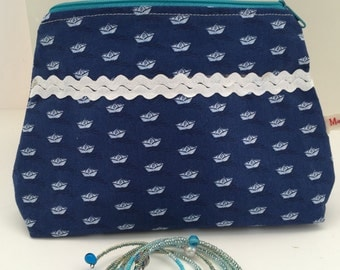 Make up bag cosmetic bag cosmetic bag blue gift for you