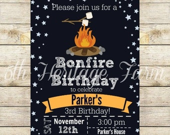 Birthday Party Invitation - Bonfire Party - Fall Party - Kids Birthday Party - Digital File - Printable