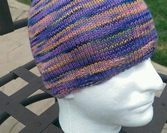 Purple/Orange Variegated Skullcap Beanie