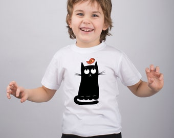 Cat & Insolent Bird Girl Animal Shirt Boys Custom Tee Shirt Kids Funny T Shirt Youth Design Tee Toddlers Cute Shirt Baby Girls Graphic PF092