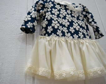 Baby Nautical Floral Tutu Tulle Ruffles Dress