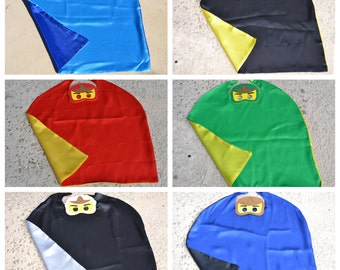 Ninjago Cape and Mask - Lego Superhero Costume. Great for Child Kids Boy Toddler Birthday Party Outfit. Personalized Name Available