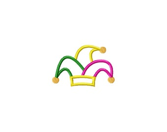 PES, Jester hat applique design, jester hat embroidery design, mardi gras embroidery design, mardi gras applique design