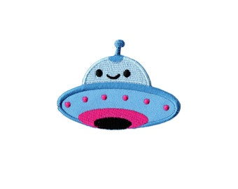 UFO Patch - Blue UFO Embroidered Iron on Patch, UFO Iron on Applique