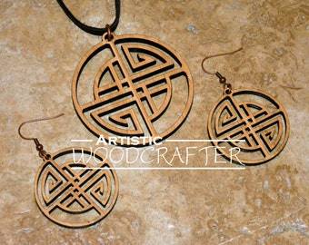 Wooden Geometric Necklace and Earring set (Bamboo)