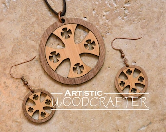 Wooden Cross Necklace and Earring set (Cherry/Walnut)