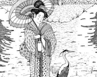 Geisha // Japan // Hand drawn // Illustration // print //