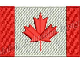 Canada Flag Machine Embroidery Design 3 Size