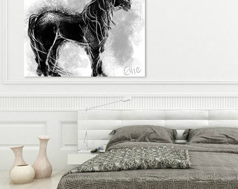 Black horse painting // A4 horse print // equestrian art // equine art // gifts for horse lovers // horsey gifts // modern horse painting