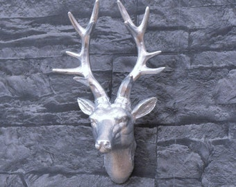 Deer head wall decoration, silver plated