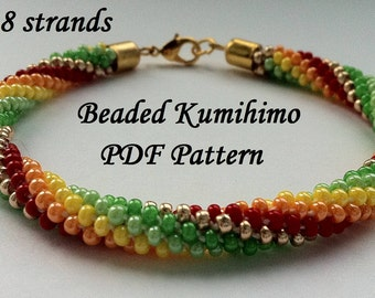 Beaded Kumihimo PDF pattern bracelet tutorial colorful spiral